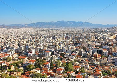 Nice view of Athens city in Greece