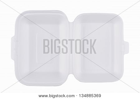horizontal top view of an open empty white meal pack isolated