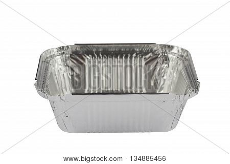 horizontal front view of an open empty aluminum meal pack isolated