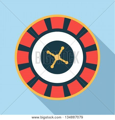 Casino roulette wheel icon in flat style with long shadow