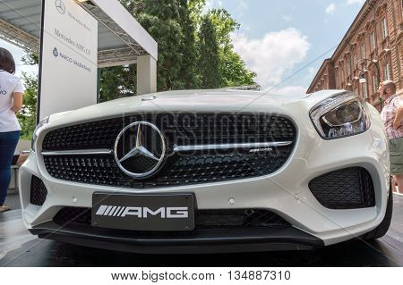 TURIN, ITALY - JUNE 13, 2015: Front view of a Mercedes AMG GT model on display at Turin open air car show
