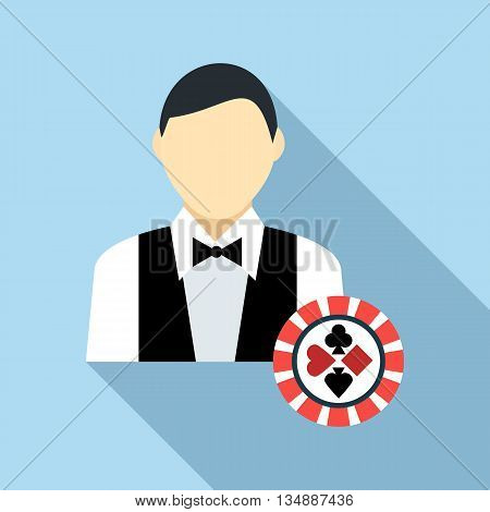 Casino croupier icon in flat style with long shadow