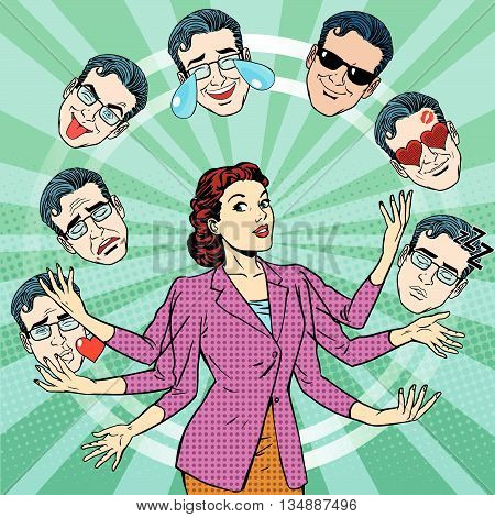 Retro woman juggles the emotions of men pop art retro vector. Joy, sadness, tears, fun