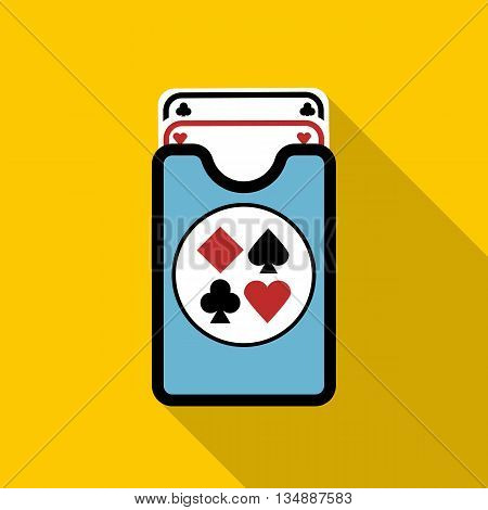 Deck of playing cards icon in flat style with long shadow