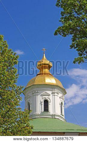 Domes of St. Michael Cathedral of Vydubychi Monastery, Kyiv, Ukraine