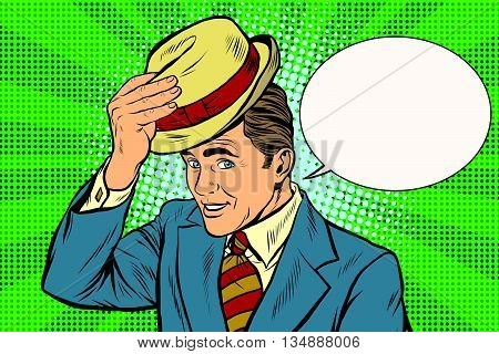 Hello polite gentleman raises his hat pop art retro vector. Etiquette and greeting