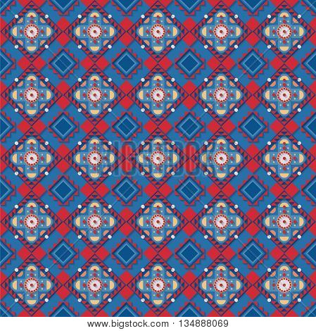 Stock vector illustration seamless pattern, background, geometric pattern, red, blue elements