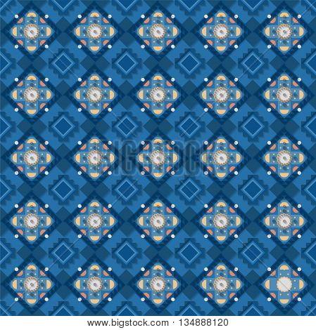Stock vector illustration seamless pattern, background, geometric pattern, blue elements