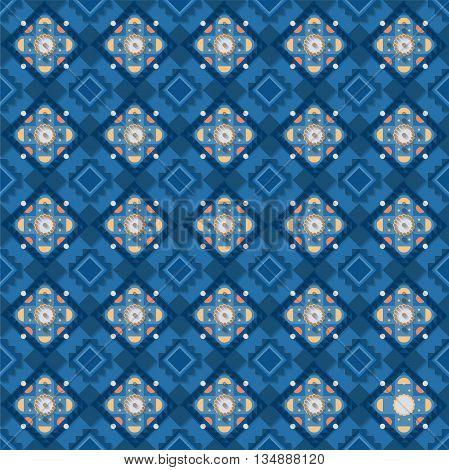 Stock vector illustration seamless pattern, background, geometric pattern, blue elements