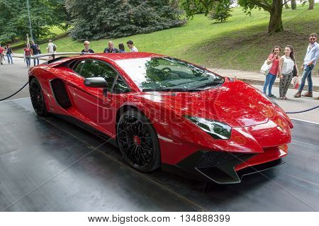 TURIN, ITALY - JUNE 13, 2015: A red Lamborghini Aventador model