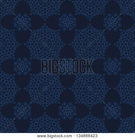 Stock vector illustration seamless pattern, arabesque background, Arabic background, geometric volume dark blue