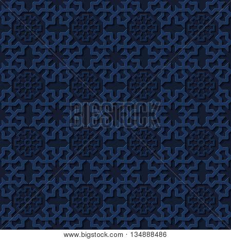 Stock vector illustration seamless pattern, arabesque background, Arabic background, geometric volume dark blue pattern