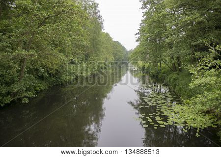 Overview of a Canal in a Forest in Country Estate Oosterbeek Wassenaar the netherlands