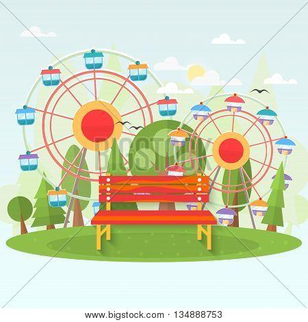 Bench in amusement park . Vector flat illustration .