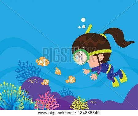 Cute Girl  Diver Under The Sea