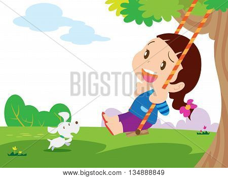 Cute Girl Sitting On Swing