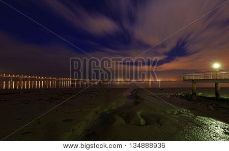 Vasco da Gama Bridge in Lisbon at night. The longest bridge in Europe
