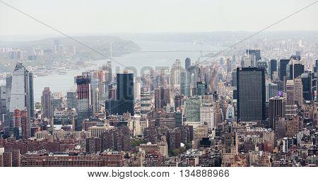 New York City Manhattan Midtown View With Washington Bridge