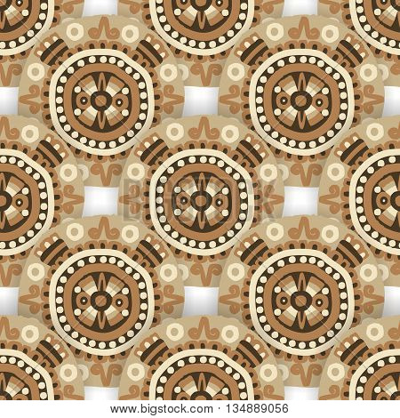 Seamless ethnic tribal pattern with aztec motives. Ethnic stylized abstract background . Aztec pattern.Vector seamless background with folk elements .