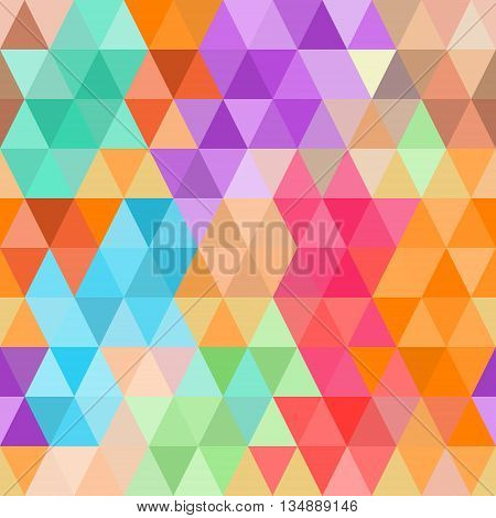 Abstract seamless pattern of bright colored triangles . Vector background .