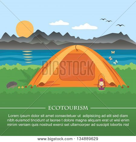 Vector illustration of  meadow with a tent on a background of mountains and lakes . Flat style .
