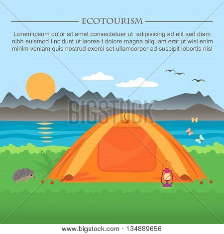 Vector illustration of  meadow with a tent on a background of mountains and lakes .