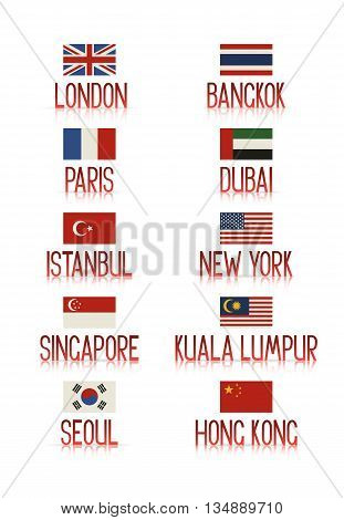 Set of ten popular tourist cities and their countries' flags. Vector labels with reflection on white .