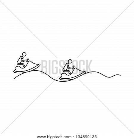 Jet-ski icon in outline style isolated on white background. Rest and sport symbol