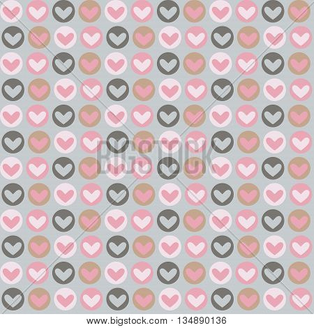 Abstract seamless cute heart pattern . Vector background