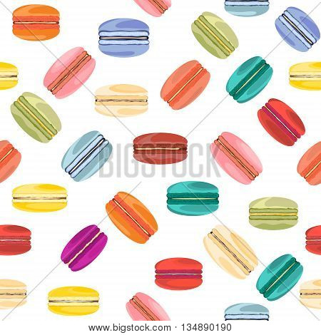 Seamless pattern with french sweet macaroons.Vector background .
