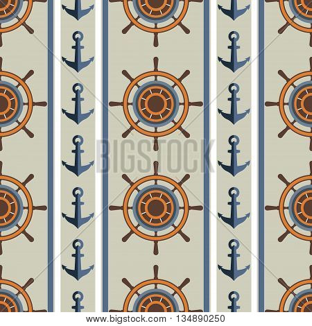 Marine pattern of anchors and steering wheel. Seamless background . Abstract vector pattern. Summer background.