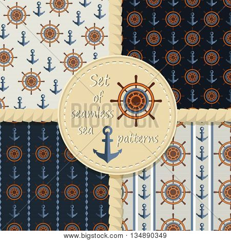 Set of seamless background with anchor and wheel .Vector backgrounds .
