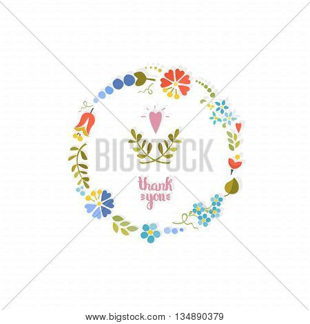 Cute floral wreath on white background. Vector background .Wreath with flowers.