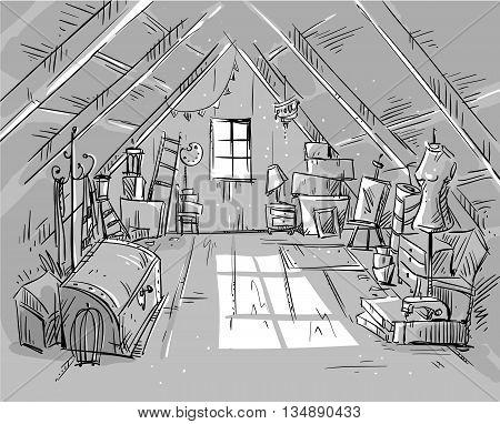 Old Attic vector illustration EPS 10 format fully editable