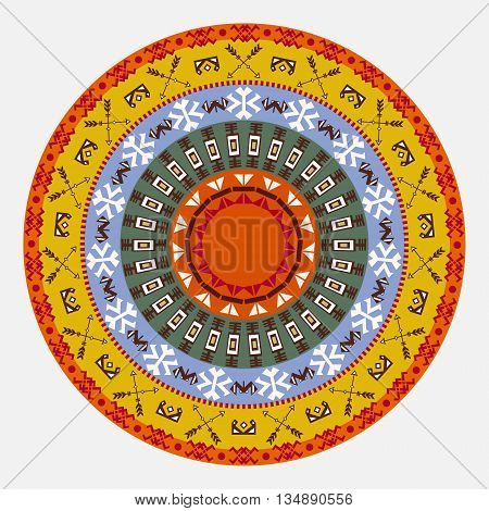 Abstract round tribal ethnic background . Vector pattern .