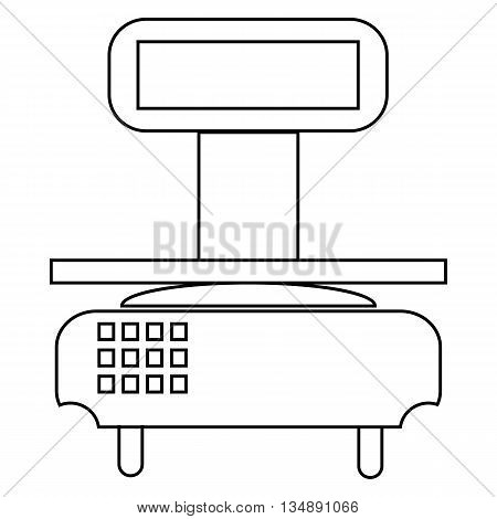 Electronic scale icon in outline style isolated on white background. Store symbol