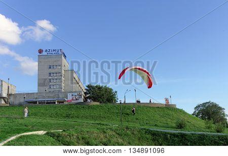 Nizhny Novgorod Russia - June 26.2014. Starting paragliding from the high bank of the Volga River in Nizhny Novgorod.