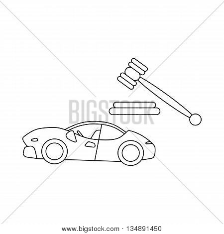 Auction cars icon in outline style isolated on white background. Shopping symbol