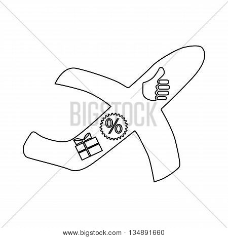 Bonuses for a flight icon in outline style isolated on white background. Air travel symbol