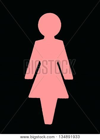 Abstract Creative Female Pink Toilet Sign Illustration
