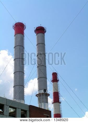 Refinery Chimney With Man
