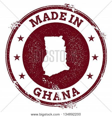 Ghana Vector Seal. Vintage Country Map Stamp. Grunge Rubber Stamp With Made In Ghana Text And Map, V
