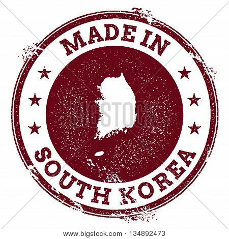 Korea, Republic Of Vector Seal. Vintage Country Map Stamp. Grunge Rubber Stamp With Made In Korea, R