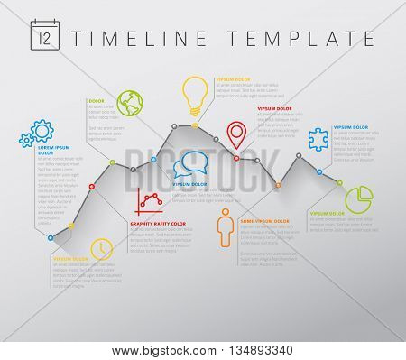 Vector light Infographic timeline report template with minimalistic color graph, icons and description. Thin line graph with circles and flat long shadow.