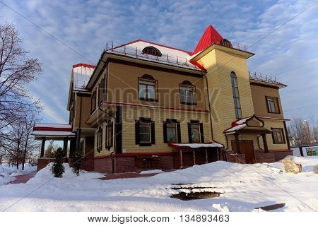 Semyonov Russia - February 8.2016. Khokhloma Museum which displays samples of wooden utensils and toys with the original design
