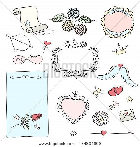Set of hand drawn decorative elements for Valentine's Day .