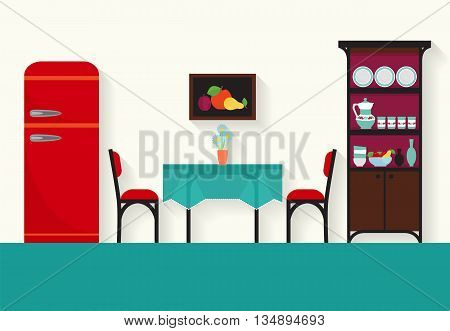 Home interior design for kitchen and sitting rooms . Vector flat illustration .