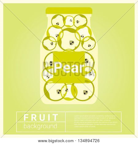 Infused water fruit recipe with pear, vector, illustration