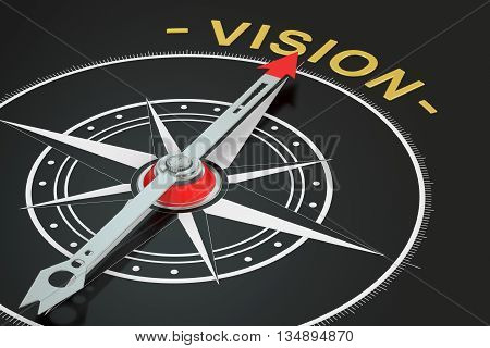 Vision compass concept 3D rendering on black