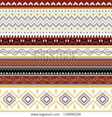 Seamless tribal ethnic background . Striped vector pattern .